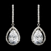 Fabulous Silver Clear CZ Drop Earrings 5172
