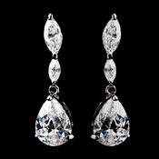 Antique Silver Clear CZ Teardrop Dangle Earrings 5500