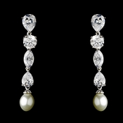 Breathtaking Cubic Zirconium & Pearl Drop Earrings E 5289