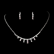 * Silver Pink Necklace Earring Set 332 ***2 Left***