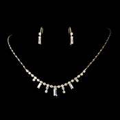 * Gold Clear Necklace Earring Set 332 ***2 Left***