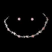 Silver Pink Necklace Earring Set 384
