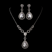 Silver Clear Cubic Zirconia Necklace Earring Set 1277