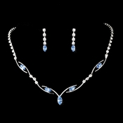 * Silver Blue Necklace Earring Set 5104