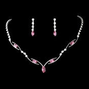 * Silver Pink Necklace Earring Set 5104