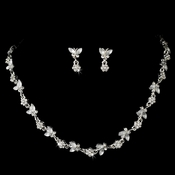 Sweet Silver Clear Crystal Butterfly Necklace & Earring Set 2875