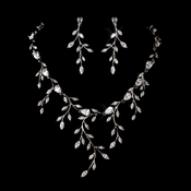 Silver Clear Cubic Zirconia Necklace Earring Set 1273