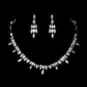 Silver Clear Cubic Zirconia Necklace Earring Set 1280