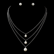 Antique Silver Ivory 8MM Pearl & Clear CZ Crystal Necklace 8912 & Earrings 8934