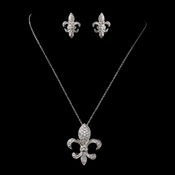 Antique Silver Clear Fleur De Lis CZ Crystal Necklace & Earrings Bridal Jewelry Set 1309