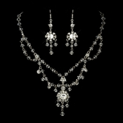 Antique Silver Clear Swarovski Crystal and Rhinestone Chandelier Tiered Necklace & Earrings Bridal Jewelry Set 8009