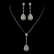 Antique Silver Clear CZ Crystal Necklace 6500 & Earrings 6500 Bridal Jewelry Set