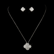 Silver Clear Rhinestone Micro Pave Clover Necklace 8640 & Stud Earrings 8632 Jewelry Set