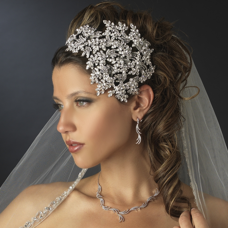 Unique Wedding Headpieces: Vintage Couture Leaves Side Accented Crystal Bridal