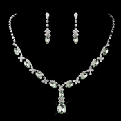 Silver Peridot Rhinestone Necklace & Earrings Jewelry Set 47029 **Discontinued**