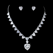 Silver Clear Rhinestone & CZ Crystal Heart Necklace & Earrings Jewelry Set 72136