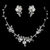 Silver Clear Swarovski Crystal Bread and Rhinestone Necklace & Earrings Jewelry Set 9311