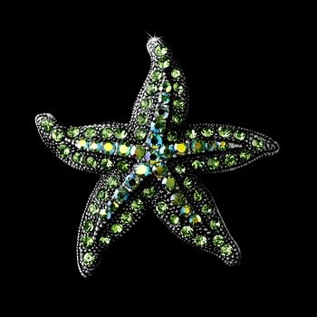 * Antique Silver Green Aurora Borealis Rhinestone Starfish Brooch 88 ***6 Left***