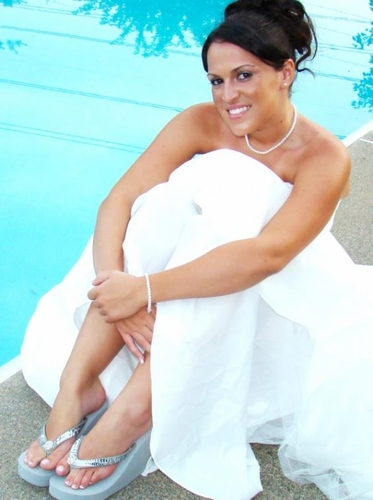 Breeze ~ Silver High Wedge Bridal Flip Flops with Sequins & Crystals**Discontinued***