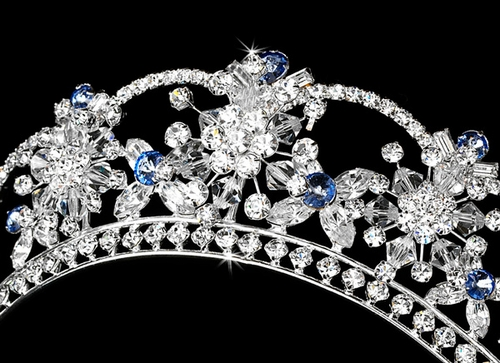 Sparkling Rhinestone & Swarovski Crystal Covered Tiara with Light Blue Accents in Silver 523