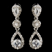 Silver Clear Round CZ Crystal Dangling Earrings 5405