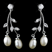 Antique Silver Freshwater Pearl & CZ Crystal Dangle Earrings 8898