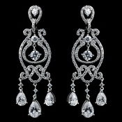 Solid 925 Sterling Silver Clear CZ Crystal Chandelier Earrings 9260