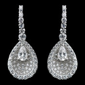 Solid 925 Sterling Silver Clear CZ Crystal Teardrop Center Earrings 9261