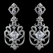 Solid 925 Sterling Silver Clear CZ Crystal & Rhinestone Drop Earrings 9263