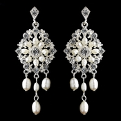 Silver Ivory Freshwater Pearl Chandelier Earrings 9684