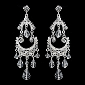 Silver Clear Crystal Chandelier Earrings 9686