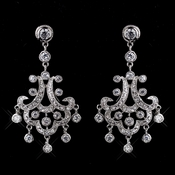 Antique Silver Clear Rhodium Chandelier CZ Earrings 3836
