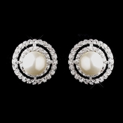 Antique Silver Ivory CZ Crystal Earrings 8902