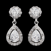 Antique Silver Clear CZ Crystal Bridal Earrings 8919