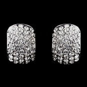 Antique Silver Clear CZ Crystal Earrings 8927