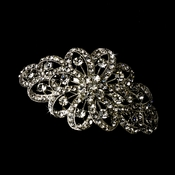 Rhodium Silver Clear Large Ribbon Corsage Barrette 5010