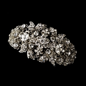 Rhodium Silver Clear Rhinestone Barrette 8335 ***Discontinued***