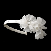 * Beautiful Fabric Side Accented Flower girl or Bridal Headband HP 611