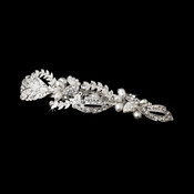 Silver Clear Rhinestone & Fresh water pearl bridal hair Barrette 3102