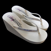 Crystals ~ Ivory or White High Wedge Bridal Flip Flops with Crystal Accented Suedene Strap
