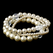 Silver Rum Pearl Three Row Bracelet 9265