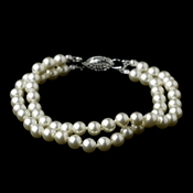 Silver Ivory Pearl Two Row Bracelet 9266