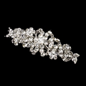 Rhodium Antique Silver Clear Rhinestone Floral Barrette 1119