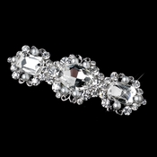 Antique Silver White Pearl & Rhinestone Barrette 70991