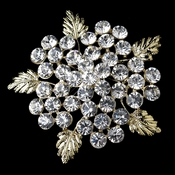 * Gold Clear Rhinestone Flower Leaf Brooch 149 ***8 Left***