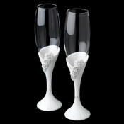 White Ceramic Daisy Flower Reception Glass Flutes