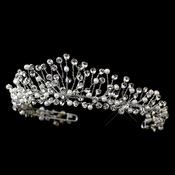 Antique Silver Diamond White Pearl & Rhinestone Tiara Headpiece 9710