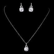 Antique Silver Clear CZ Crystal Necklace 8574 & Earrings 8580 Jewelry Set