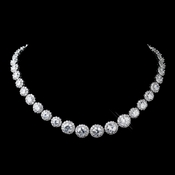 Antique Silver Rhodium Clear CZ Crystal Necklace 9024