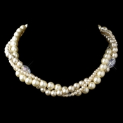 Silver Rum Three Row Pearl & Crystal Necklace 9265